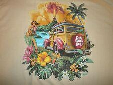 "OLD GUYS RULE "" HULA WOODIE"" SURF SURFBOARD LONGBOARD FIN BEACH S/S  SIZE M"