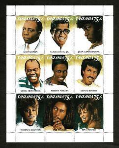 Tanzania 1992 SC# 811 Bob Marley, Tina Turner, Armstrong Sheet of 9 Stamps - MNH