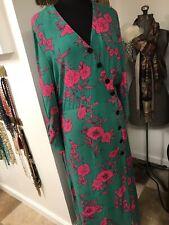 Dress New Pink Kelly Green Floral Sz 12 US AKA Colors:)