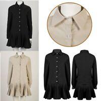 Womens Turn-down Collar Long Sleeve Shirt Dress Loose Pleated Shirt Mini Dresse