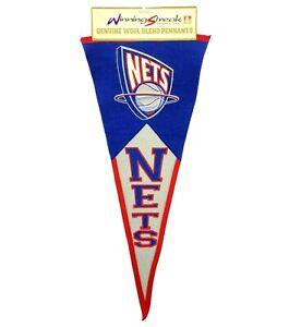 NBA New Jersey Nets Team Logo Wool Basketball Pennant Winning Streak 17x40 2003