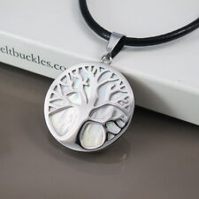 Silver Tree Of Life Celtic Shell Pendant Womens Mens Black Leather Necklace Cord