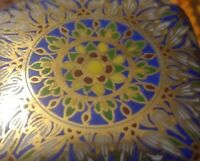 Vintage Handpainted Porcelain Trinket Box Kaleidoscope Look Gold Blue Green Red