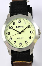 Ravel Mens Luminescent Glow in the Dark Watch, Big Numbers, Brown Black Strap