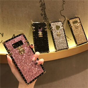 For Samsung Note20 S21 S10e A01 A21 Luxury Square Bling Glitter Trunk Cover Case
