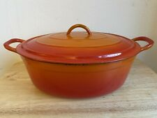 New listing Vintage Descoware Dutch Oven~Cast Iron Fe 12 Belgium~Orange Enamel Pan*Pot