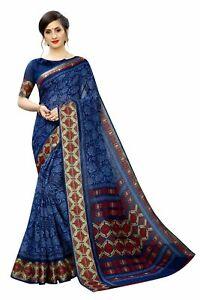 Saree Linen Sari Indian Bollywood Wedding Pakistani Women Blouse Wear Printed