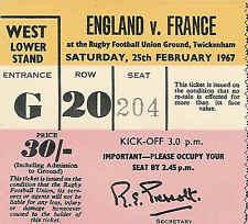 More details for england v france 25 february 1967 rugby ticket