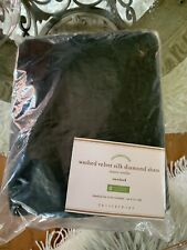 POTTERY BARN Standard Sham WASHED VELVET SILK DIAMOND PILLOW Spruce Green