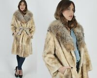 Vtg 70s Blonde Opossum Coat Crystal Fox Shawl Collar Leather Belted Long Jacket