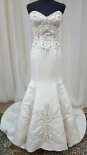 NEW Impression Bridal Gown Wedding Dress 10254 Ivory Fit Flare Mermaid Satin 12
