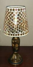 Brown Tea Light Candle Holder Lamp with Gold Mosaic Shade