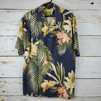 Tommy Bahama Mens dark grey tropical print button down shirt Size Large