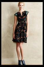 NWT Anthropologie Eva Franco Larksong Corduroy Sequins Bird Print Dress 2 RARE!