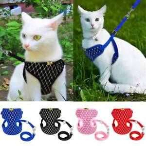Cat Walking Jacket Harness & Leash Pet Dogs Adjustable Mesh Vest Chest Strap New
