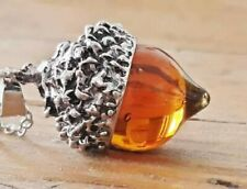 Vintage Style Amber Glass Acorn Oak Pendant Necklace Silver Plated & Gift Bag
