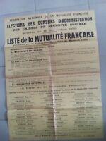 18 AFFICHE CONSEIL ADMINISTRATION 60X80 1956 MUTUALITE FRANCAISE MAINE ET LOIRE