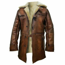 Tom Hardy Bane Coat Trench Dark Knight Rises Real Sheepskin Mens Leather Jacket