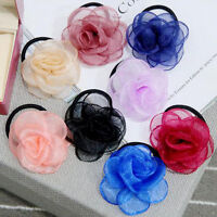 Elegant Women Girls Satin Ribbon Camellia Hair Band Ponytail Holder Hair Band
