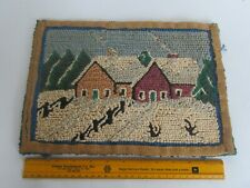 """Antique Small Primitive Two Cottages & Snow, Winter Scene Hooked Rug (13"""" x 9"""")"""