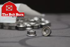 (100) 5/16-18 Stainless Steel Serrated Hex Flange Nuts Flange Locknuts