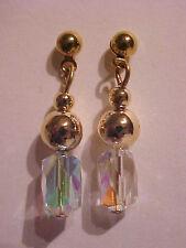 """Australian Crystal Earrings Faceted Dangle Gold Ball Stud Pierced Earrings 1"""""""