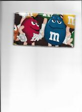 M&M CANDY CHECKBOOK COVER REGISTERED FABRIC RED AND BLUE