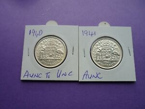 AUSTRALIAN FLORINS 1940  1941  Aunc to UNC    Value up to $325  Yours  $160