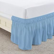 Wrap Around Elastic Bed Skirts Dust Ruffle Easy Fit Queen/King All Size Sky Blue