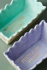 NEW ANTHROPOLOGIE SET OF 2 MINI LOAF PAN L'HIVER BREAD CAKE PIE DISH GOLD LETTER