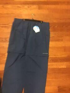 NWT! Columbia Men's Backcast Convertible Pant, NavyBlue XXL - PFG