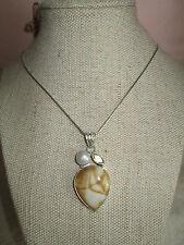 ~ Natural Agate, Pearl & Quartz Gemstone Pendant & Silver Plated Chain ~