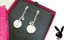 Playboy Earrings Bunny Charms Medallion Chain Dangles Crystal Playmate Gift RARE