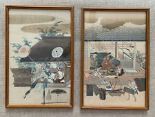 Tosa Mitsuoki 2 Japanese Color Woodblock Umbrella & Bow Maker Print 8.5�X12.5�