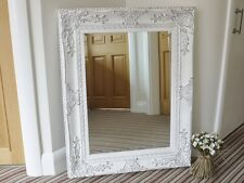 FRENCH BAROQUE ANTIQUE WHITE (Distressed) WALL MIRROR with Wide Ornate Frame