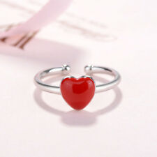 925 Silver Ajustable Cute Heart Shape Party Rings Red Colors Rings For Women