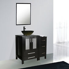 "36"" Black Bathroom Vanity Vessel Sink Small Cabinet Set Glass Faucet Combo"