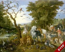 ANIMALS GATHER LED TO NOAH'S ARK PAINTING CHRISTIAN BIBLE ART REAL CANVAS PRINT
