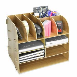 Wooden Square Desktop Organiser Office Stationery & Document Storage Pukkr