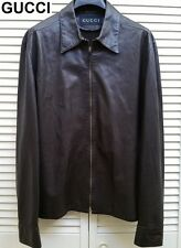 GUCCI leather jacket shirt unlined brown western cowboy classic light XL 54 44