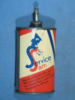 Vintage SERVICE SAM 3 oz Oiler Tin Can Lead Top w/Cap 1920's Made in USA