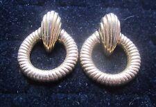 "Costume Earrings Solid Base with Hoop Pierced Earrings Gold In Color 1.5"" long!"
