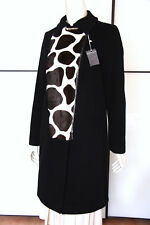 NEW MAX MARA ITALY SIZE 6 US BLACK 100% WOOL WINTER COAT/JACKET + FUR/LEATHER