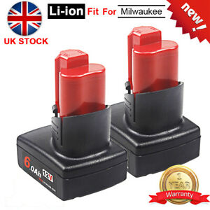 2x 12V 6.0Ah Replace Battery For Milwaukee 12Volt M12 48-11-60 Li-ion battery