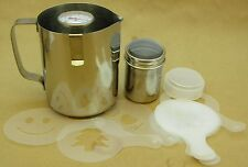 Coffee machine barista kit Froth jug thermometer chocolate sprinkler & templates