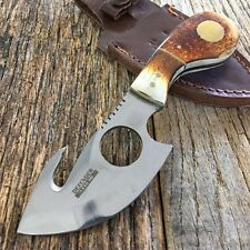 "7"" BONE Hunting Survival Skinning Fixed Blade Knife Full Tang Army Gut Hook"