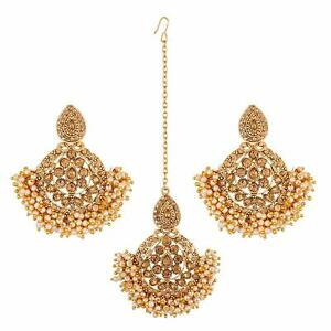 Indian Pearl Gold Wedding Bridal Bollywood Head Hair Forehead Maang Tikka Set
