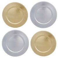"""Metallic 13"""" Plastic Charger Round Plate - Gold / Silver"""