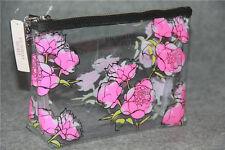 NWT Victori Secret Clear Floral Roses Travel Makeup Bag Beauty Pouch PVC *LOOK
