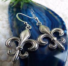 schöne große Fleur de Lys Ohrringe Königslilie Templer Silber Pagan Geschenk